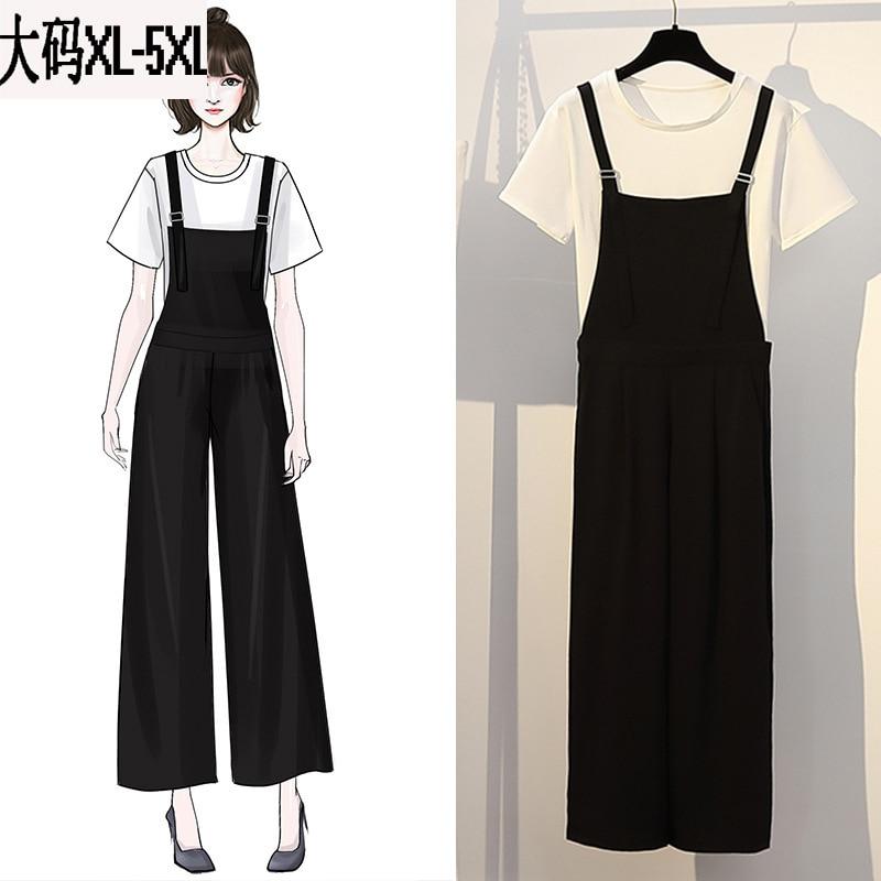 Large Size Dress 2019 Summer New Style Simple By Age Wide-Leg Suspender Pants Versatile Short Sleeve T-shirt Two-Piece Set WOMEN