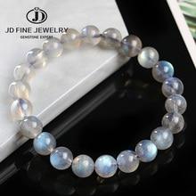 JD A+ Natural Labradorite Stone Round Beaded 4/6/8/10/12mm Lucky Gray Blue MoonStone Women Men Bracelet New Charm Jewelry Gift