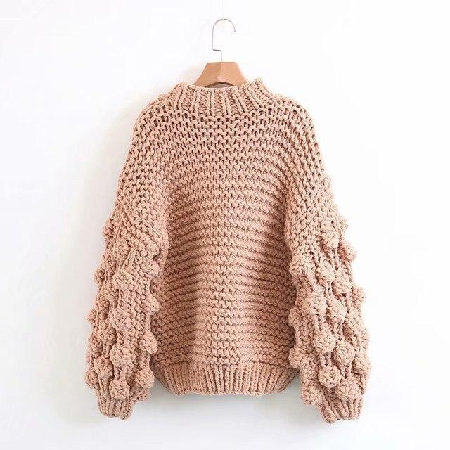 Hand Knitted Chic Handmade Ball Sweater4