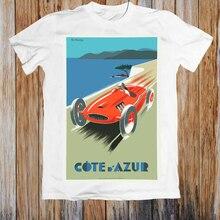 Vintage póster de viaje Costa Dazure Riviera Francesa Unisex T camisa gráfico personalizado Tees Tee camiseta