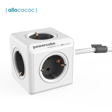 Allocacoc PowerCube Extended Socket Power Strip Multi Thief Plug Electrical Extension Cord with 5 Outlet Tee 16A/250V Cable 1.5m