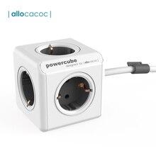 Allocacoc powercube拡張ソケット電源タップマルチ泥棒プラグ電気延長コードと 5 出口tシャツ 16A/250vケーブル 1.5 メートル