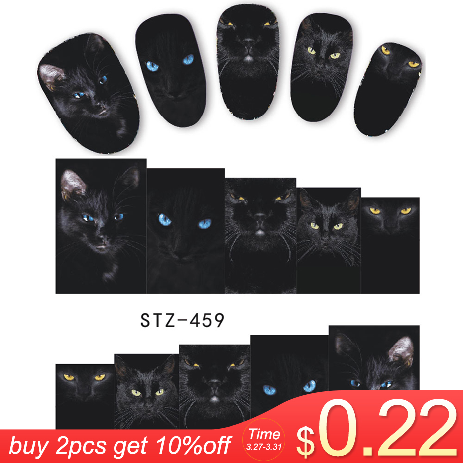 1 Sheet Animal Black Cat Designs Nail Art Stickers Water Transfer Nail Tips Decal DIY Accessory Beauty Nail Decorations LASTZ459