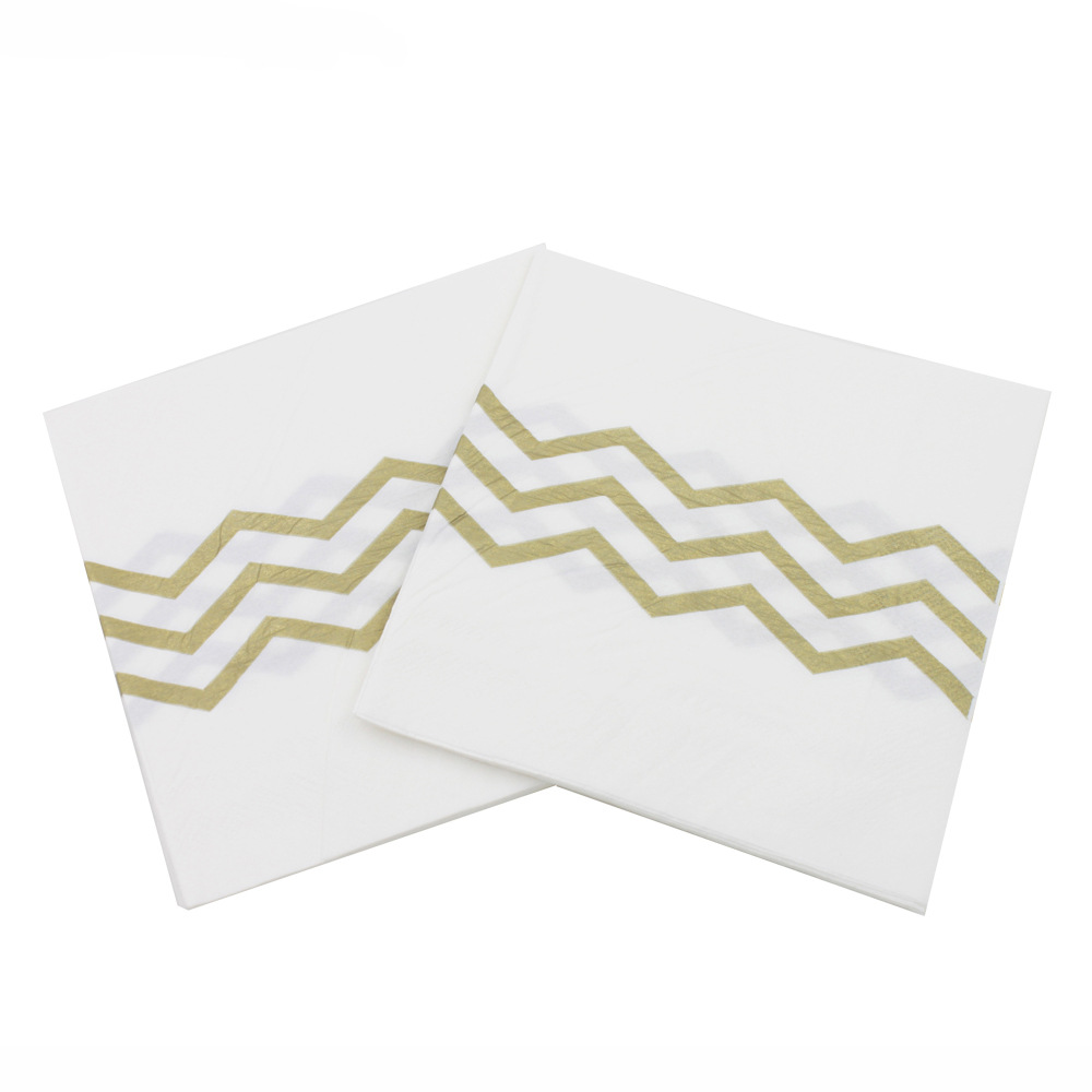 [Currently Available] Color Printed Napkin Faux Bronze Wave Pattern Creative Tissue Party Napkin Paper