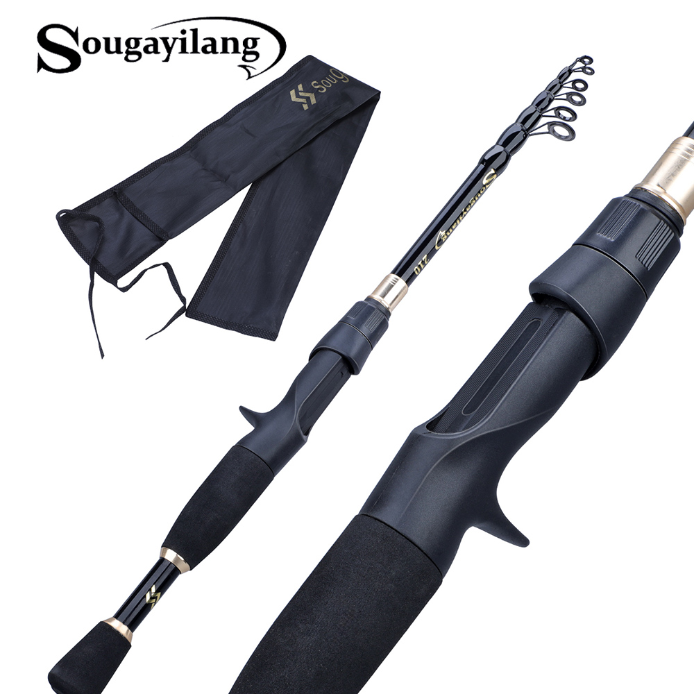 Sougayilang 1.8-2.4m Portable Telescopic Fishing Rod Ultralight Weight Carbon Fiber Spinning Casting Rod Fishing Tackle