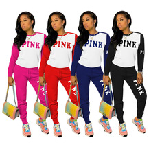 Women Set Tracksuit Outfit Long-Pants Two-Piece-Set Print Pink Casual Letter Winter Autumn