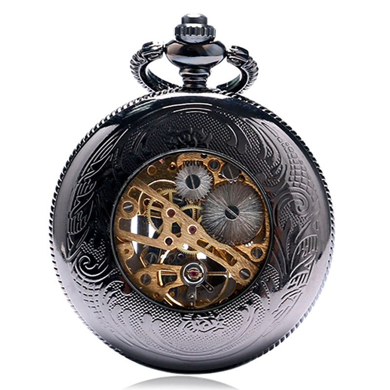 metade caçador bolso relógio esqueleto pingente presente