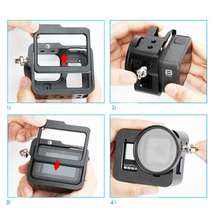 Image 5 - Marco protector para cámara GoPro Hero 8, carcasa de aleación de aluminio con diseño de montaje en tres direcciones, multiángulo, accesorios para cámara negra