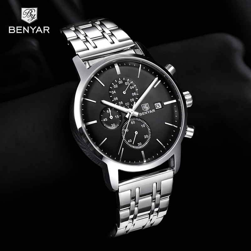 2019 New Watch Men BENYAR Top Brand Quartz Watch Fashion Chronograph Waterproof Business Clock Wristwatch Mens Relogio Masculino