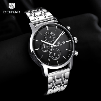 2019 New Watch Men BENYAR Top Brand Quartz Watch Fashion Chronograph Waterproof Business Clock Wristwatch Mens Relogio Masculino benyar men watch top brand luxury quartz watch mens sport fashion blue analog leather male wristwatch waterproof clock