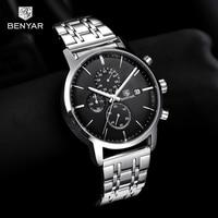 2019 nowy zegarek mężczyźni benyar najlepsze marki zegarek kwarcowy moda Chronograph wodoodporny biznes zegar zegarek mężczyzna Relogio Masculino w Zegarki kwarcowe od Zegarki na