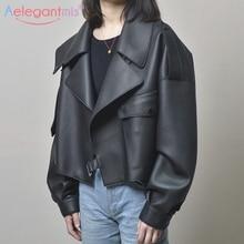 Aelegantmis черная короткая Свободная куртка из искусственной кожи, осенне-зимняя мягкая куртка из искусственной кожи, Уличная Повседневная Верхняя одежда, Женская байкерская куртка