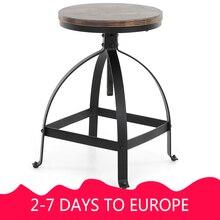 IKayaa промышленный стильный барный стул регулируемая высота Поворотный кухонный обеденный для завтрака стул из натурального соснового дерева Топ барный стул