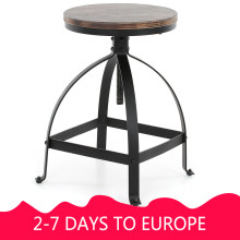 iKayaa Industrial Style Bar Stool Adjustable Height Swivel Kitchen Dining Breakfast Chair Natural Pinewood Top Bar Stool(China)
