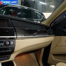 Estilo do carro guarnição de fibra de carbono para bmw x5 x6 e70 e71 2008-2014 lhd co-piloto center console painel decoração adesivo