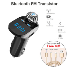 цена на Car Kit Handsfree Wireless Bluetooth FM Transmitter LCD MP3 Player USB Charger Car Accessories with Apple/ Android USB Cable