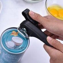 Abridor de lata manual de aço inoxidável fácil segurança profissional sem esforço abridores com botão de volta da cozinha do agregado familiar ferramentas úteis