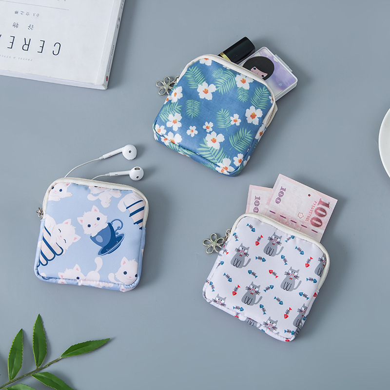 Small Coin Purse Canvas Women Cute Mini Coin Wallet Pouch Girl Kids Card Money Key Lipstick Napkin Earphone Storage Bags