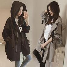 Women Windcoat No Bombs Regular Length Moderate Feel Long Sleeve Solid Color Hoo