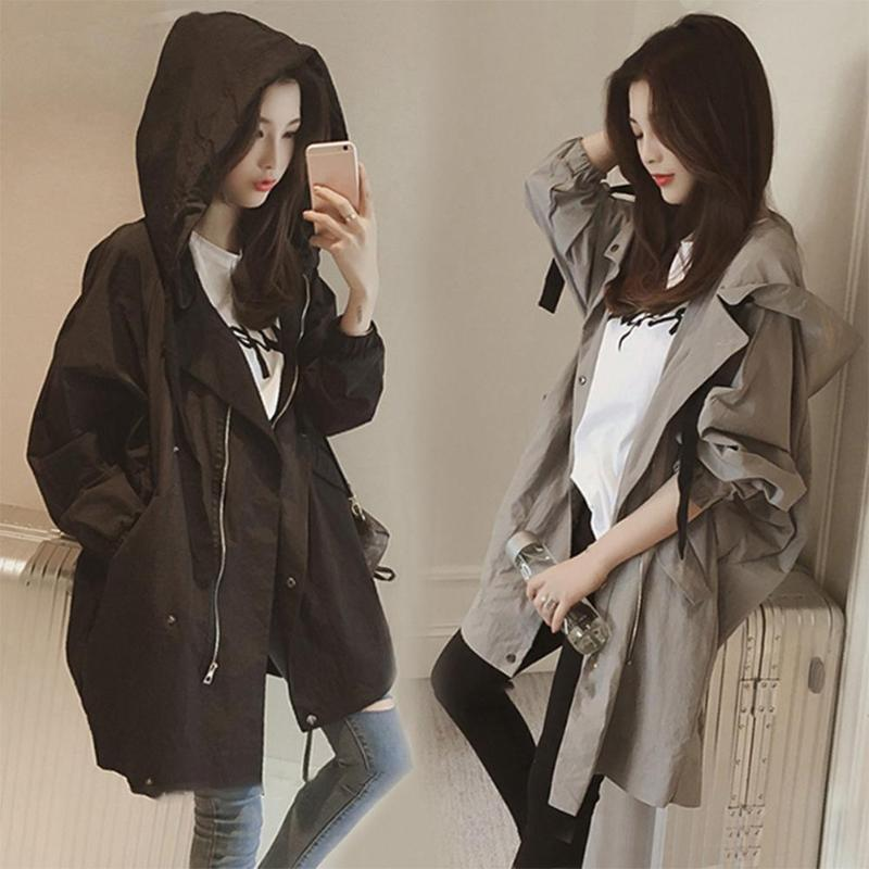 Women Windcoat No Bombs Regular Length Moderate Feel Long Sleeve Solid Color Hooded Spring Autumn Loose Thin Fashion