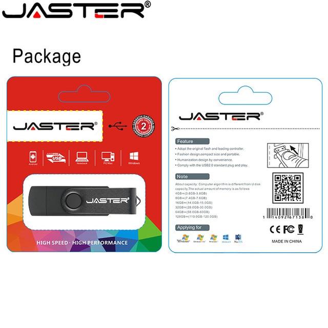 JASTER USB 2.0 OTG USB flash drive Smart Phone Tablet PC 4GB 8GB 16GB 32GB 64GB  Pendrives OTG Real Capacity Usb stick 6