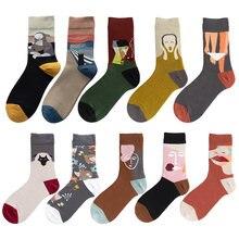 Unissex estilo pintura astronauta meias femininas 100 algodão harajuku colorido completo meias femininas espaço streetwear 1 par tamanho 37-44