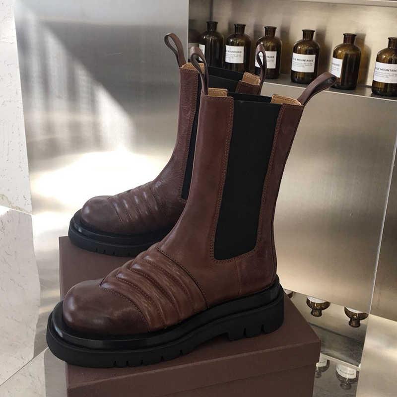 JAWAKYE yeni dalga desen orta buzağı çizmeler kadın basit yuvarlak ayak platform ayakkabılar hakiki deri pist ayakkabı kış patik kadın