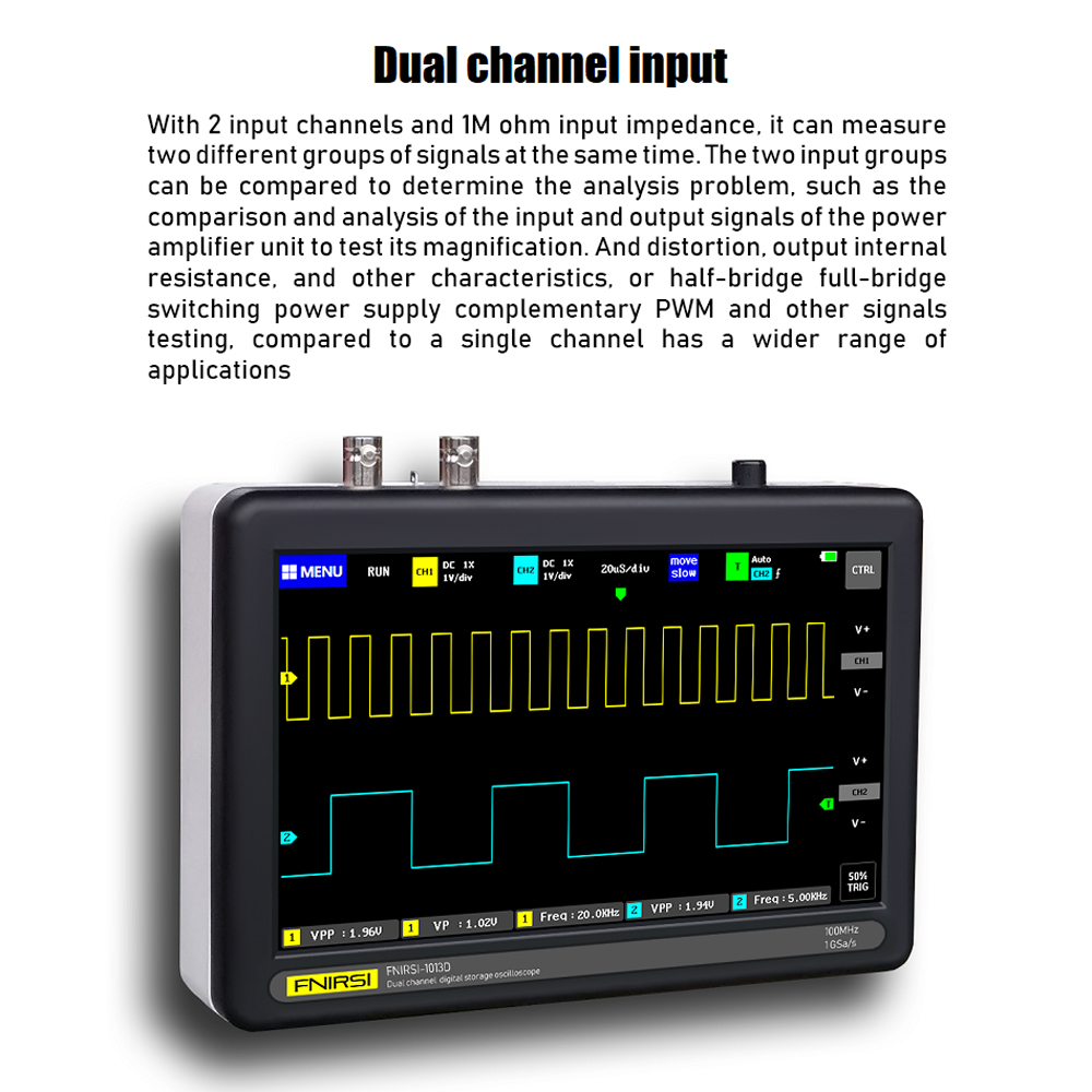ADS1013D 2 Channels Digital Oscilloscope with Color TFT Screen
