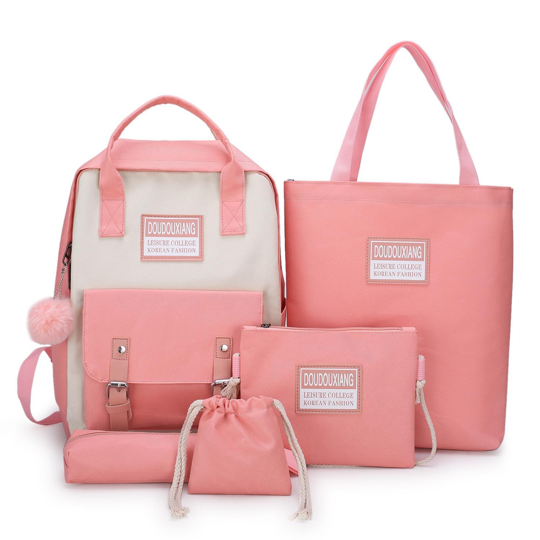 2020 New Canvas Female Book Bag Backpack 5pcs/set Schoolbag School Bag Travel Pack Fashion Tassel Women Teenage Teenagers Girl 1