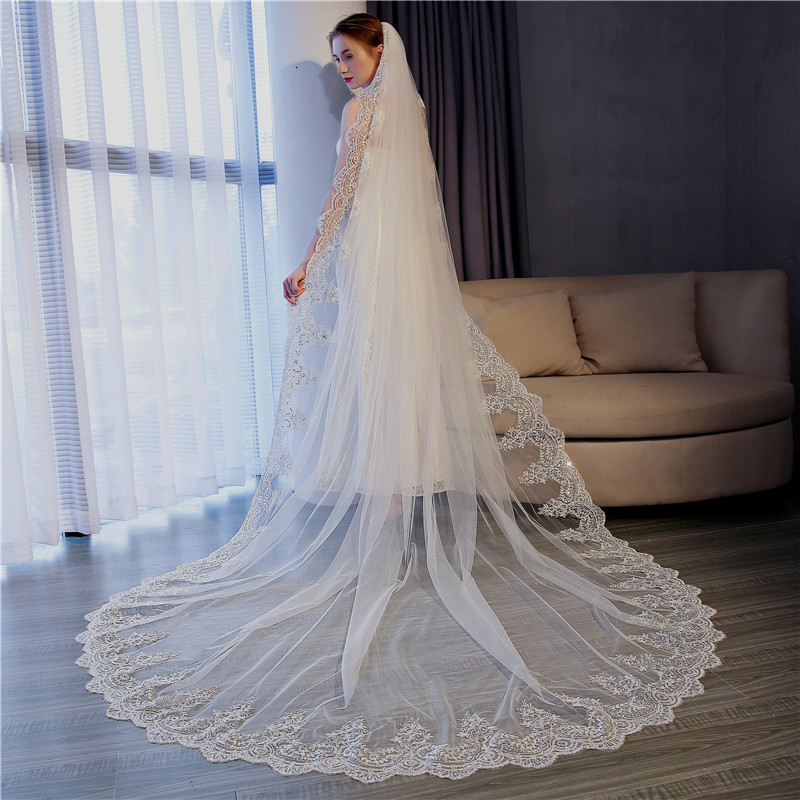 New 3 M * 3 M Train Long Veil Wedding Dress Accessories With Plug Comb Bride Veils
