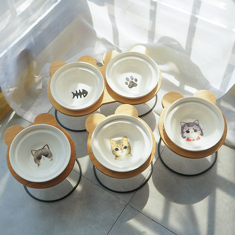 Hot Sale High-end Pet Bowl Bamboo Shelf Ceramic Cat Feeding and Drinking Bowls for Dogs Cats Bowls Pet Feeder Accessories