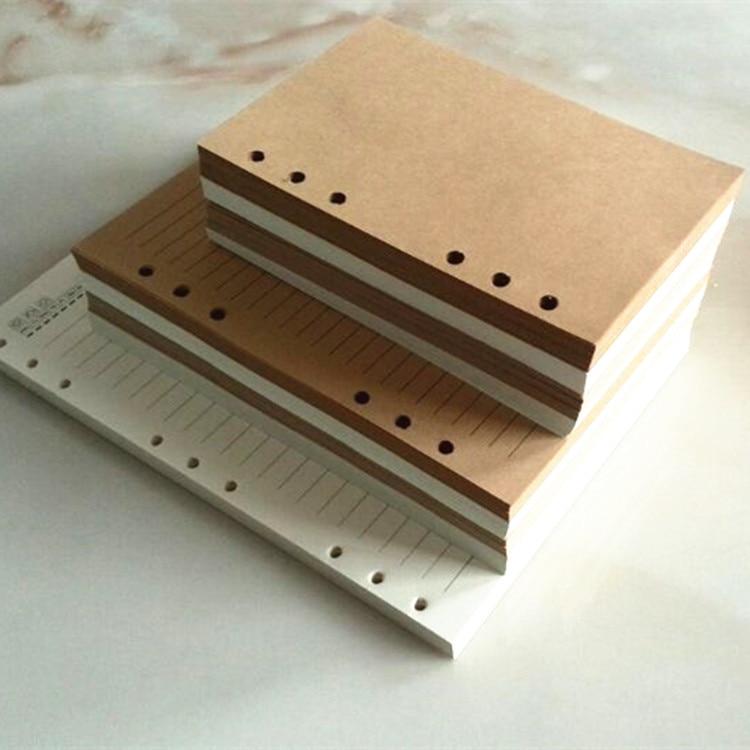 Vintage retro kraft branco folha solta pasta de enchimento papel páginas negócio branco linha a5 a6 b5 caderno núcleo interior diário