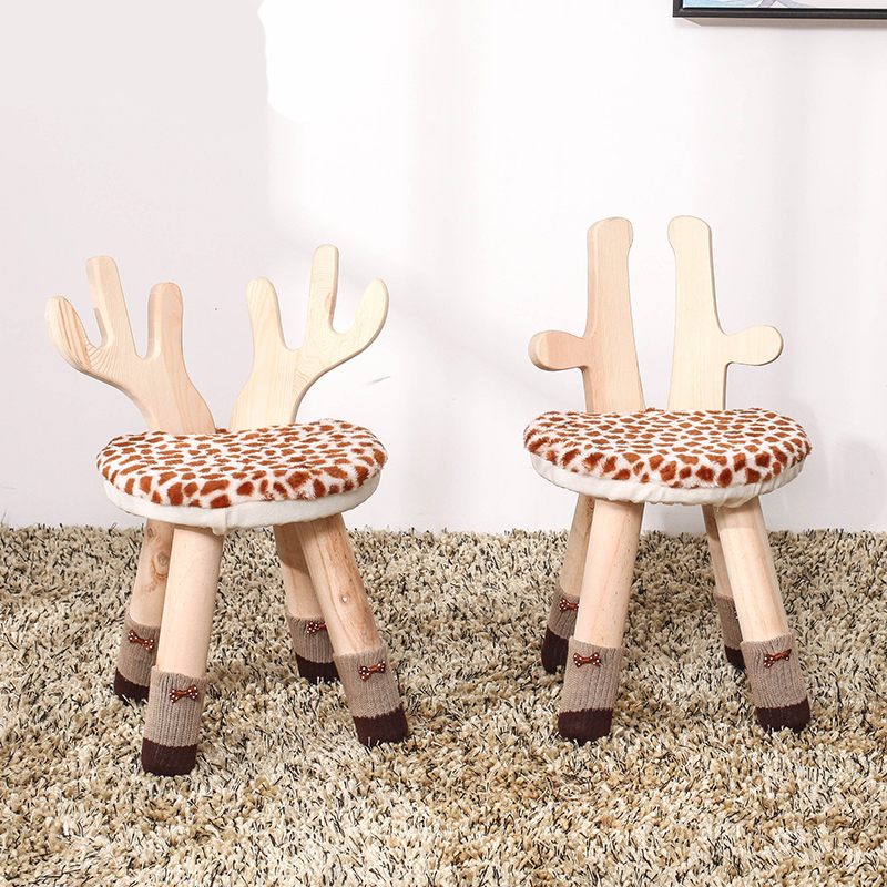 Solid Wood Children's Stool Cartoon-shaped Stool Little Deer's Stool Lovely Baby's Chair Household Nordic Low Stool