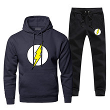 The Big Bang Sheldon Lee Cooper Men's Full Suit Tracksuit The Flash Cosplay Fashion Hoodies Winter Warm Complete Man Tracksuit(China)