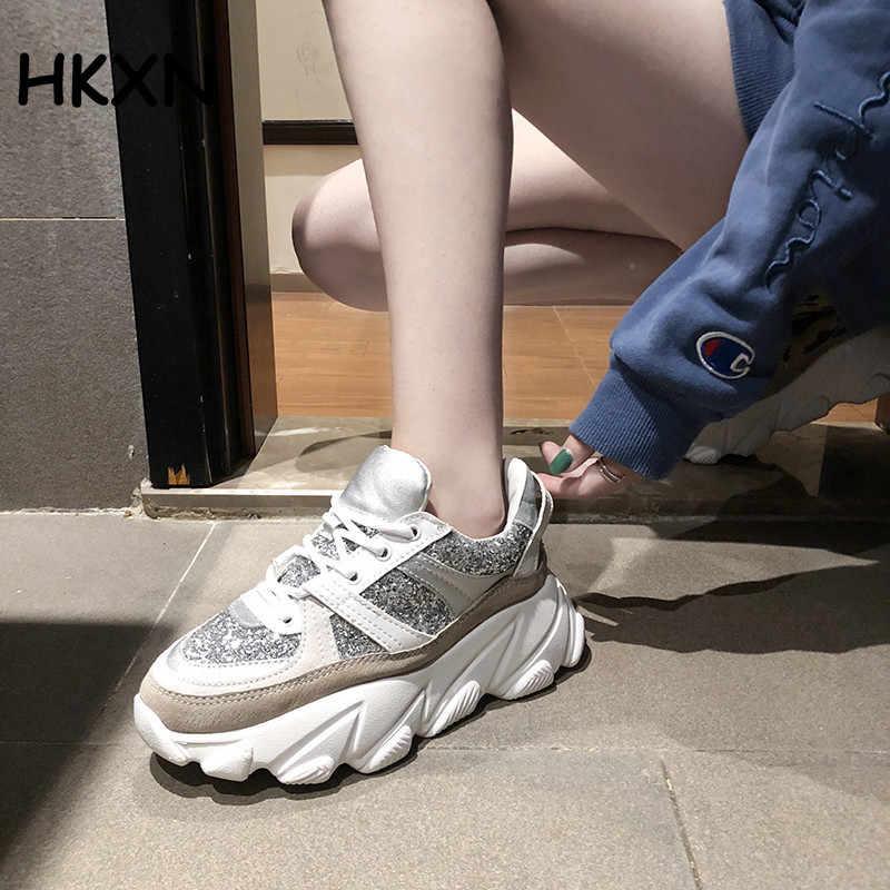 2019 paillettes femmes Snekaers mode plate-forme baskets gros papa chaussures noir blanc chaussures femmes formateurs léger chaussures à semelles compensées