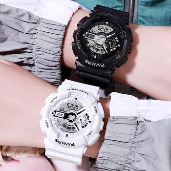 PANARS Student Sport Digital Watch Electronic Quartz Dual Core Display LED Waterproof Watch Men WristWatch Mens Women Watches