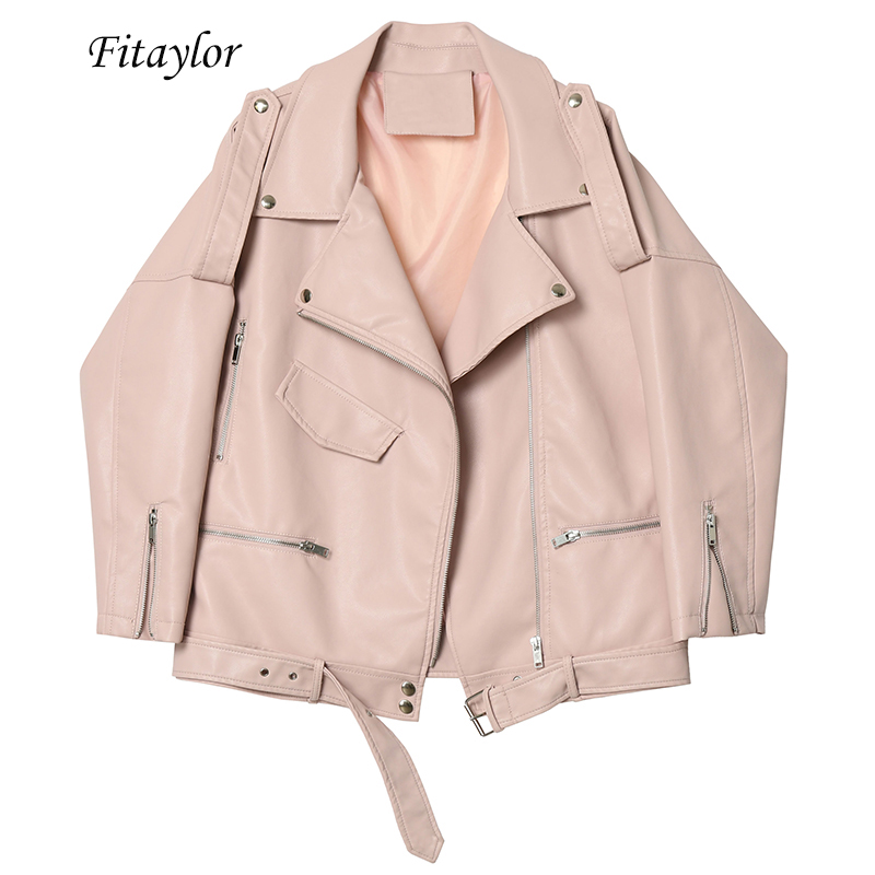 Fitaylor Autumn Women Faux Soft Leather Loose Jacket Coat Turndown Collar Zipper Pu Motorcycle Overcoat Female Rivet Punk Jacket
