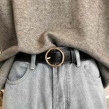 Ремень с круглой пряжкой Женский, кожаный пояс для джинсов, с металлической пряжкой, для отдыха