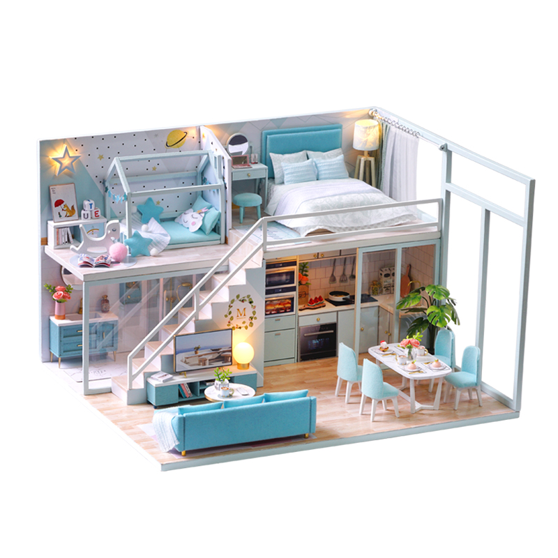 DIY Dollhouse Loft Miniature Doll House Model Assemble Kits with Furnitures Wooden House Toy for Children Birthday Gifts