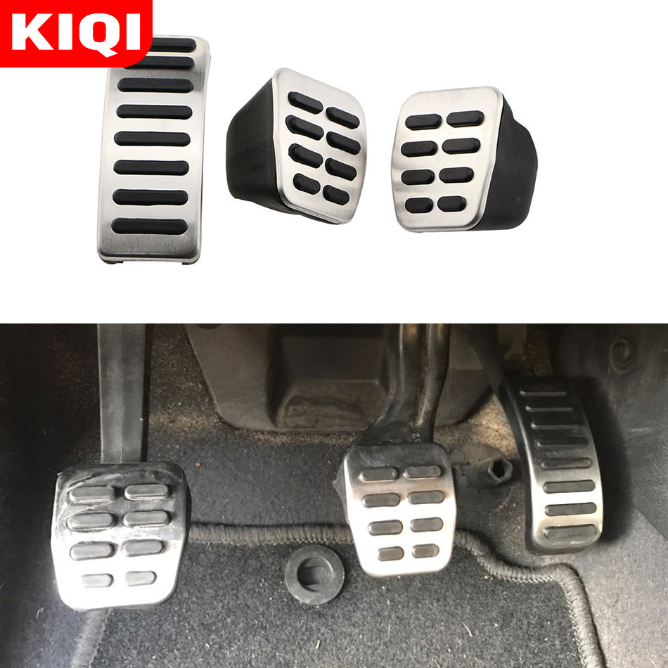 Stainless Steel Car Gas Brake <font><b>Pedals</b></font> MT/AT <font><b>Pedal</b></font> Cover for Seat Ibiza 6K 6L 6J Skoda Fabia <font><b>VW</b></font> Polo 9N 6R Bora <font><b>Golf</b></font> <font><b>MK4</b></font> IV image