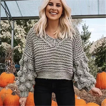 KIYUMI Sweater Women  2019 Pullover Knitting Needle Sweater Long Sleeve Top With Balls Casual Two-tone Autumn Winter Sweater New цена в Москве и Питере
