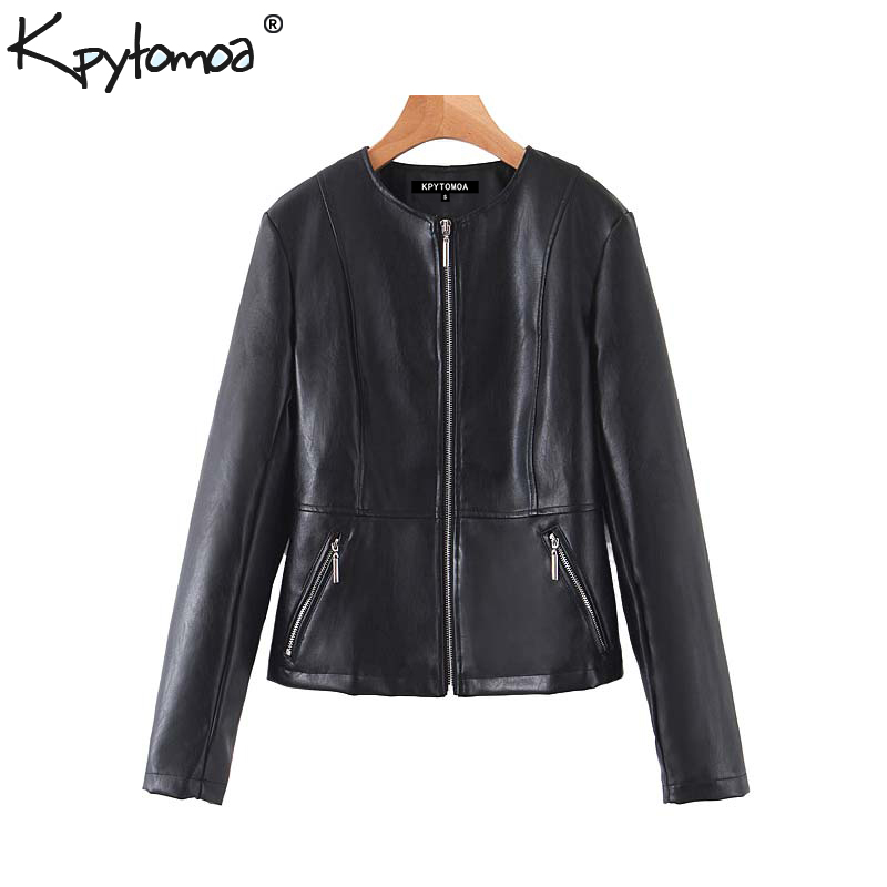 Vintage Stylish Faux Pu Leather Moto Biker Jacket Coat Women 2020 Fashion O Neck Long Sleeve Zipper Female Outerwear Chic Tops