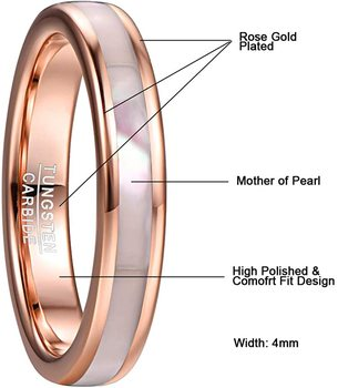 JQUEEN 4mm simple Tungsten Carbide Ring Women's Rose Gold Tungsten Steel Ring with Mother of Pearl Shell Comfort Fit Size 5-10