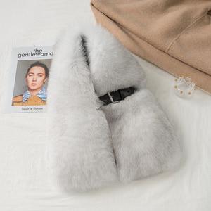 Image 4 - Lantafe kürk eşarp kış eşarp genişleyen kalınlaşma gerçek tilki eşarp bayanlar şal kemer tokası toptan deri yaka doğal kürk