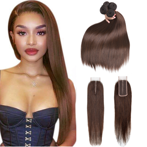 Image 5 - Sapphire Human Hair Bundles With Closure 2# 4# 99J Straight Weave Bundles 3 PCS With 2*4 Closure Human Hair Bundles with Closure