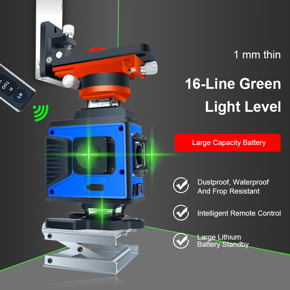 16 Lines 4DLaser Level Green Line Self-Leveling 360 Horizontal and Vertical Cross Super Powerful Green Laser Level New Version