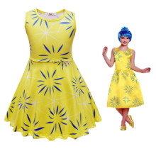 Kids Cosplay Costume Inside Out Disgust Joy Costume Party Girl Dress inside out