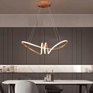 Image 5 - Gold Chrome Plated Modern Led Chandelier Hanging For Dining Room Kitchen Room Living Room Home Deco Chandelier Fixture