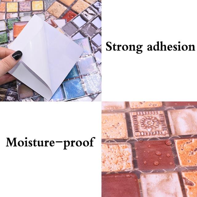 10*10cm Mosaic Self Adhesive Tile Wall Stickers Vinyl Bathroom Kitchen Home Decoration DIY PVC Stickers Decals Wallpaper 10pcs 4