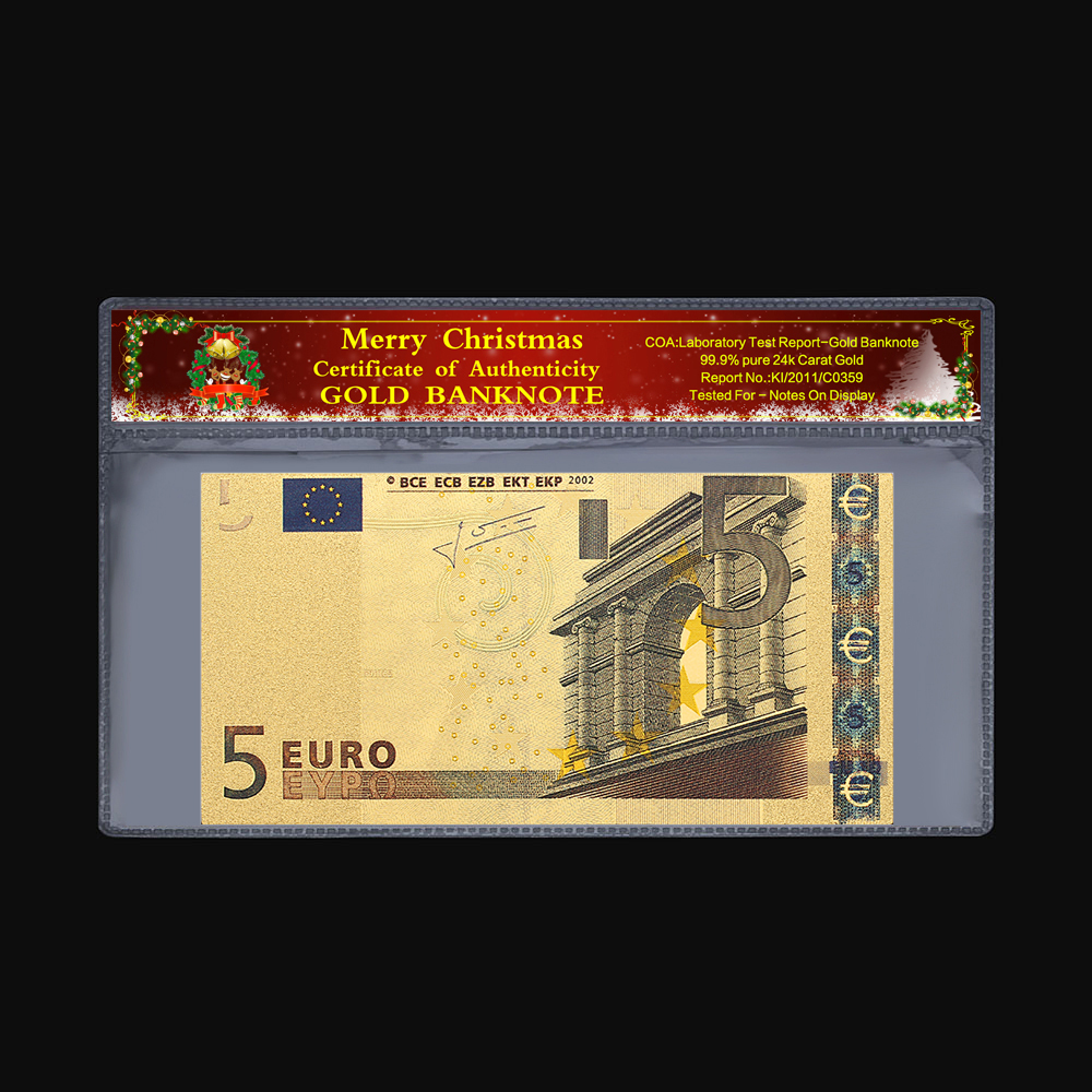 Treasure Commemorative Coin 5 10 20 50 100 200 500 Euro Old Banknote 24k Gold Plated Christmas Plastic Gift 2 Pieces / Set